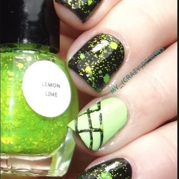 Lime glitter nails nail art by Mycrazydesigns