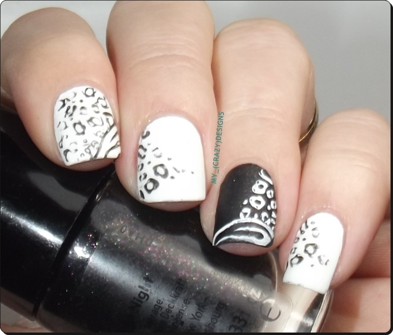 Black & White nails nail art by Mycrazydesigns