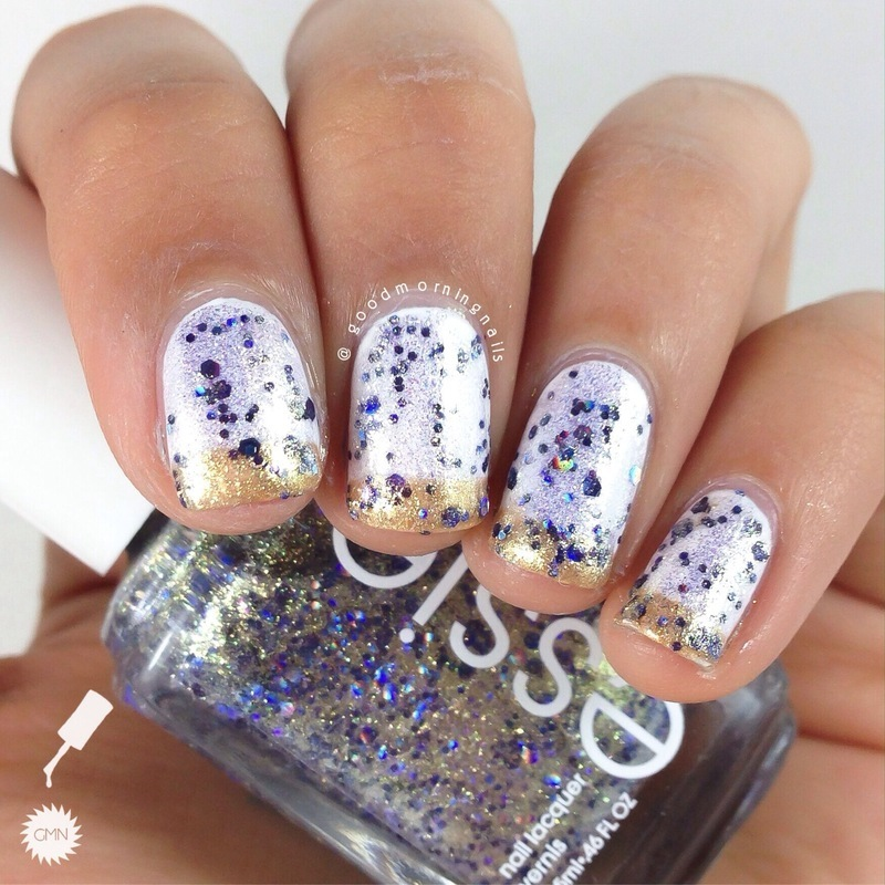 Jazzy Gold French nail art by Sabah