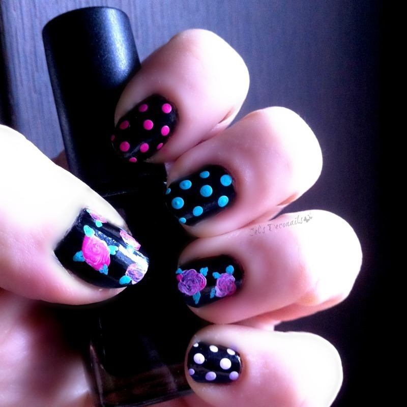 Flowers and polka dots nail art by Cel