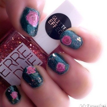 China glaze watermelon rind glitter roses nail art 01 thumb370f