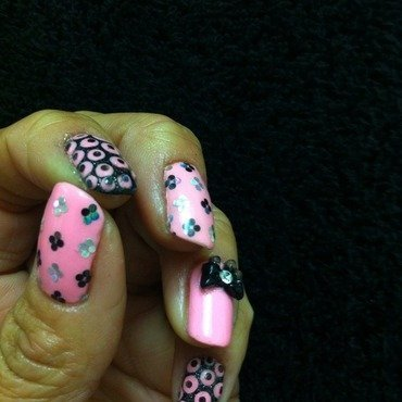 Pretty Pink Mani nail art by Genevieve  Clay-Poor