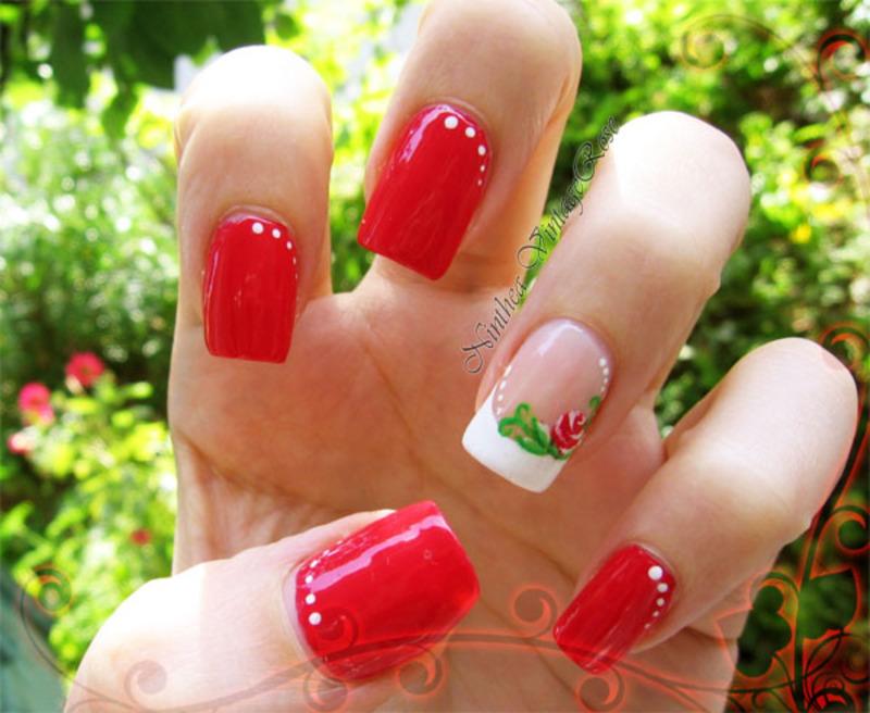 Sweet rose nail art by Ninthea