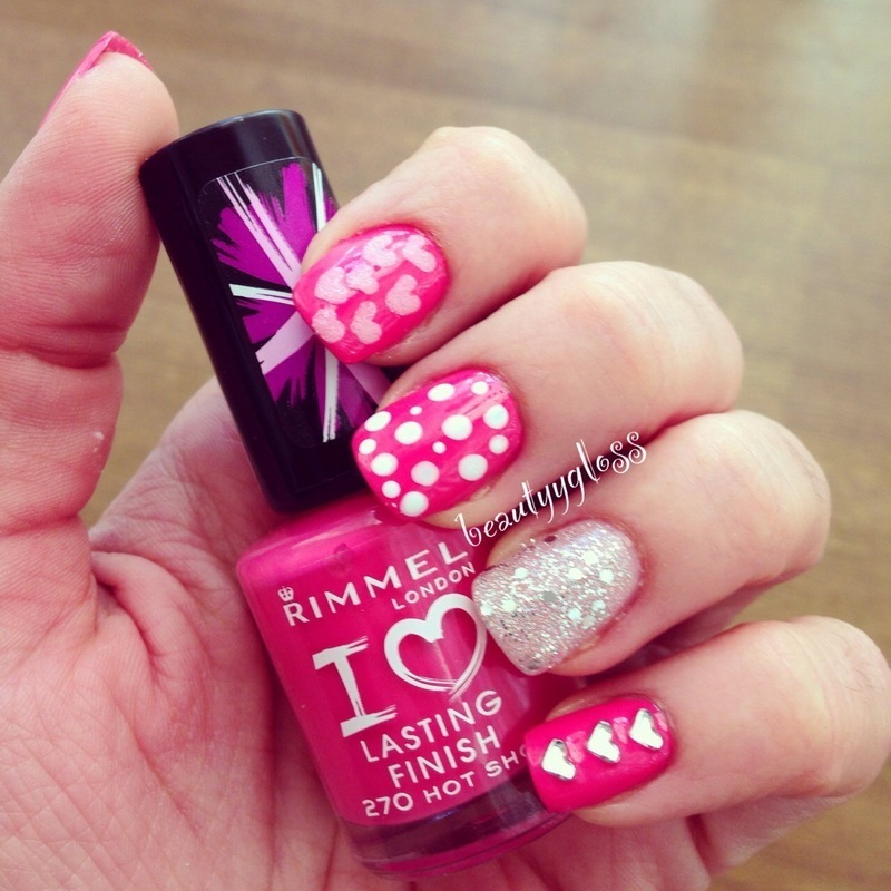valentine's day mani nail art by beautyygloss