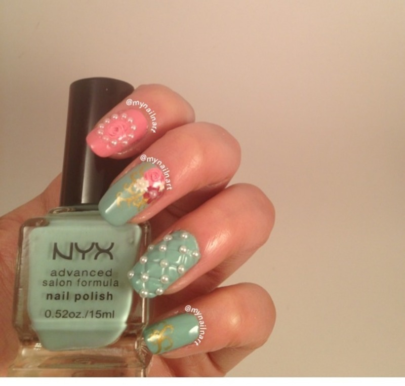 flowers and pearls nail art by mynailnart