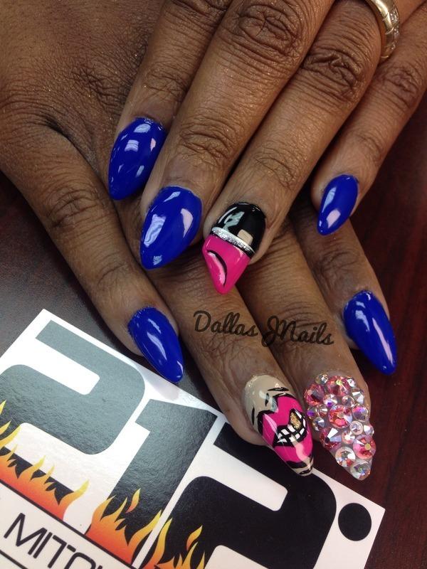 Lips and lipstick nail art by Dallas