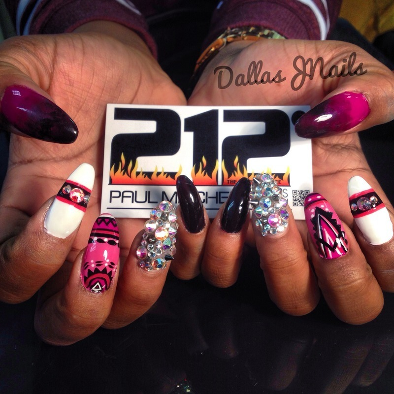Aztec and ombre nail art by Dallas