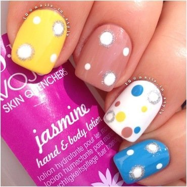Skittle Polka Dots nail art by Nails_In_Style