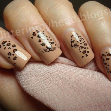 Nude Leopard nail art by The Wonderful Pinkness