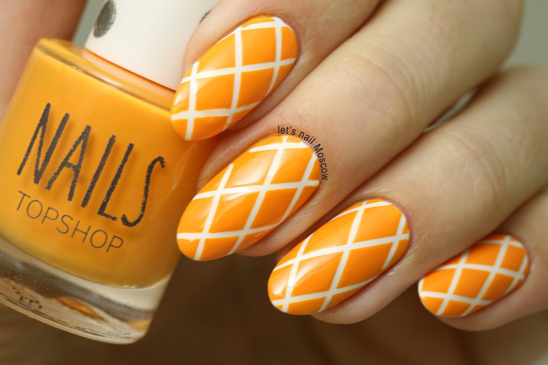 orange geometric nails :) nail art by Let's Nail Moscow