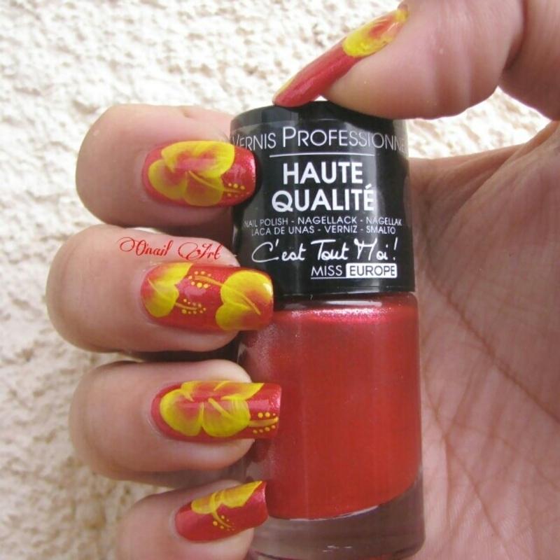 Hibiscus Nails nail art by OnailArt