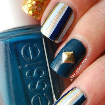 Blue & Gold Skittlette nail art by Sarah S