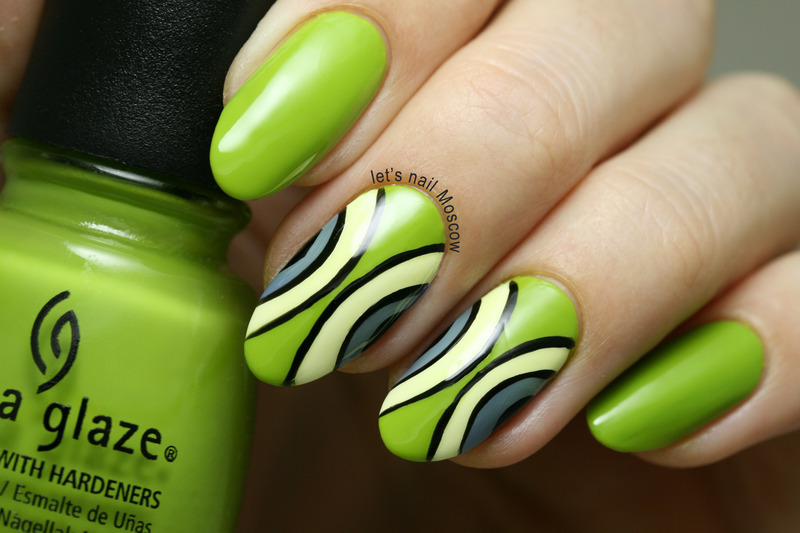 green apple abstract nail art :) nail art by Let's Nail Moscow