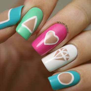 Cut out design nails nail art by lets nail moscow nailpolis inglot swatch nail polish 601 685 687 688 white pink green blue nail art nailart design prinsesfo Gallery