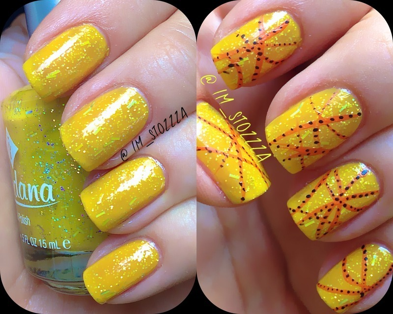 Yellow dust nail art by Louise