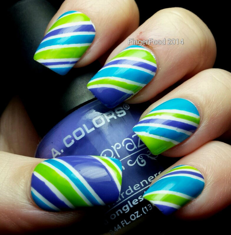 Marine candy stripes nail art by Sam