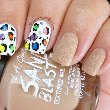 Nude and Rainbow leopard nail art by Michelle