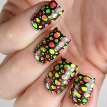 Neon Rainbow nail art by Jennifer Starnes