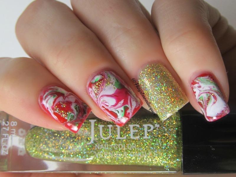 Dry Marbling  nail art by Jennifer Starnes