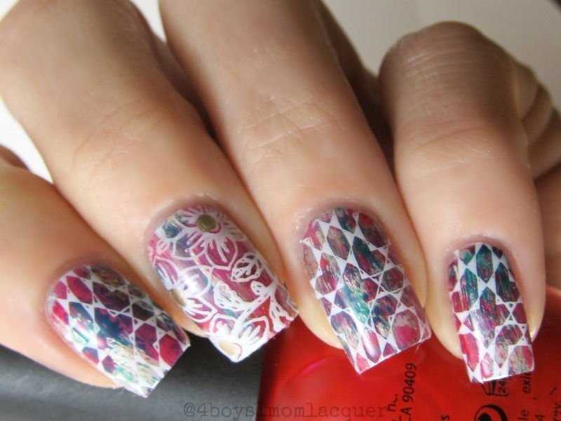 Distressed and Stamped  nail art by Jennifer Starnes