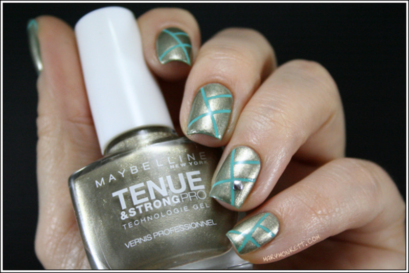 Upper Gold, strip and mint nail art by Mary Monkett