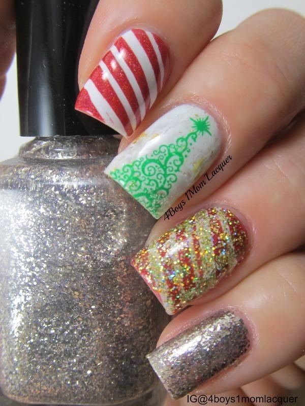 Holidayish  nail art by Jennifer Starnes