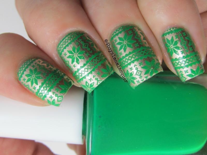 Festive Wrapping nail art by Jennifer Starnes