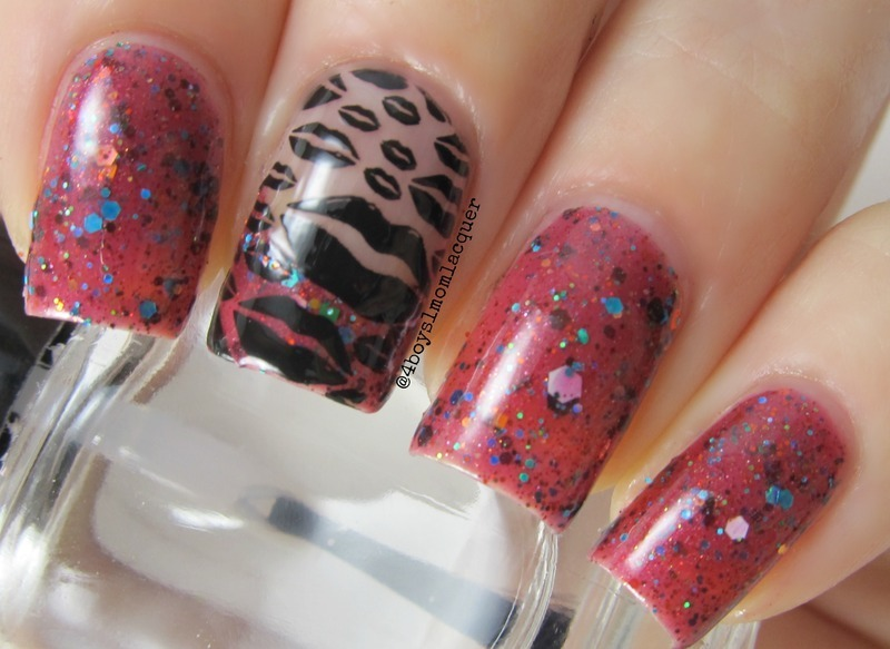 Dark Kisses nail art by Jennifer Starnes
