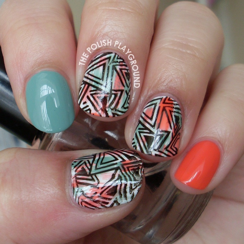 Distressed Geometric Stamping nail art by Lisa N
