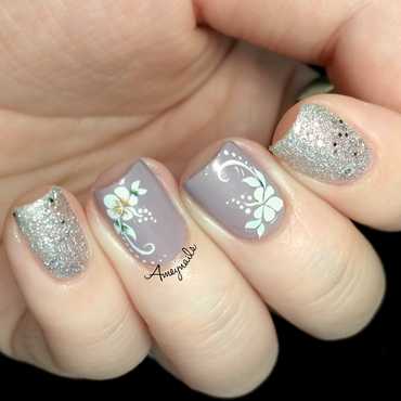 Flower water decals nail art by Amey