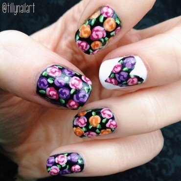 Floral and Heart Cut Out Nails nail art by Tilly  Hawkins