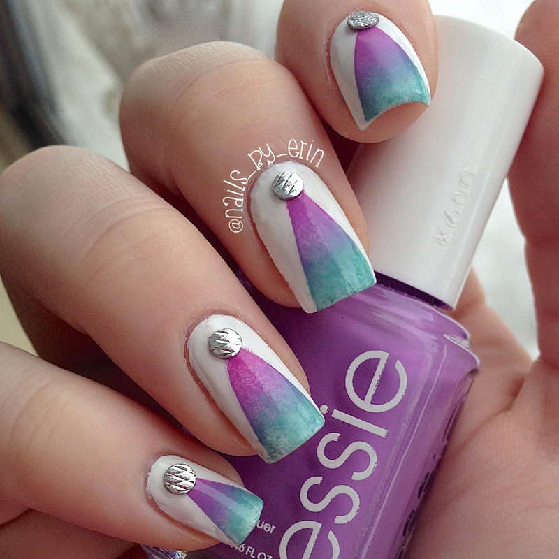 Gradient Triangle Nails with Studs nail art by Erin