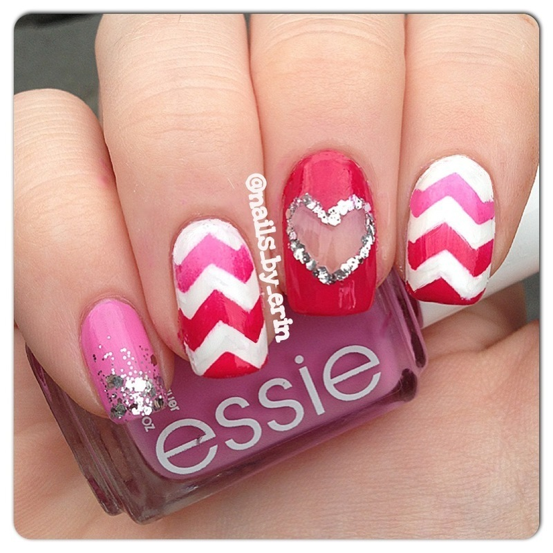 Pink Heart Cut-Out Nails nail art by Erin