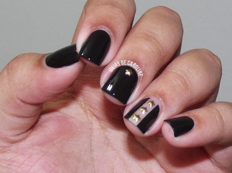 Studded Negative Space Nails nail art by Caroline Lopes
