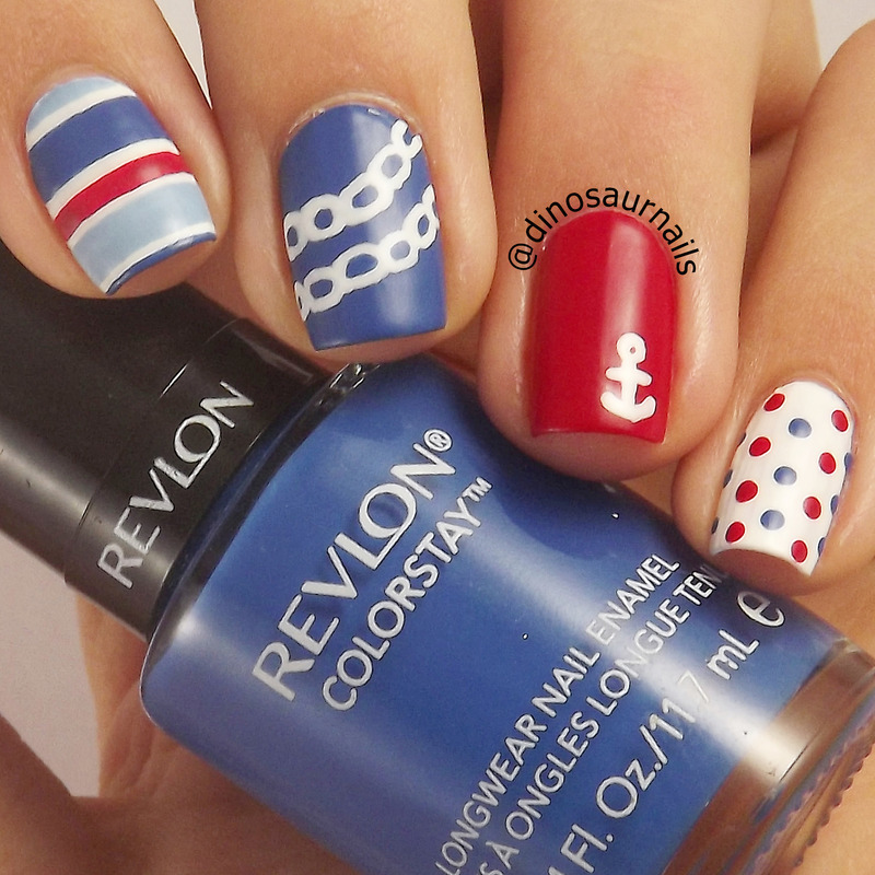 Nautical nail art by Vanesa - Nailpolis: Museum of Nail Art