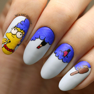 31dnc blue nails simpsons marge simpson hair nail art                      nails nailart beautiful nails         blogger nailblogger china glaze matte magic essie borrowed   blue polish swatch beautyblogger 1 1 thumb370f