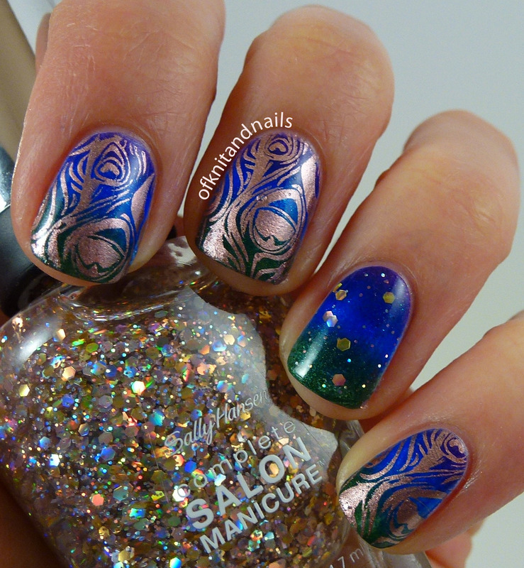 Potential Peacock Wedding Nails? nail art by Julie