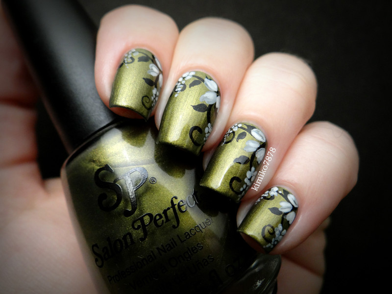 Olive Floral nail art by Kim