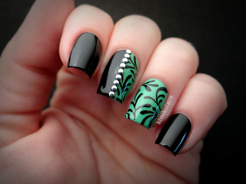Black and Green Studded with Filigree nail art by Kim