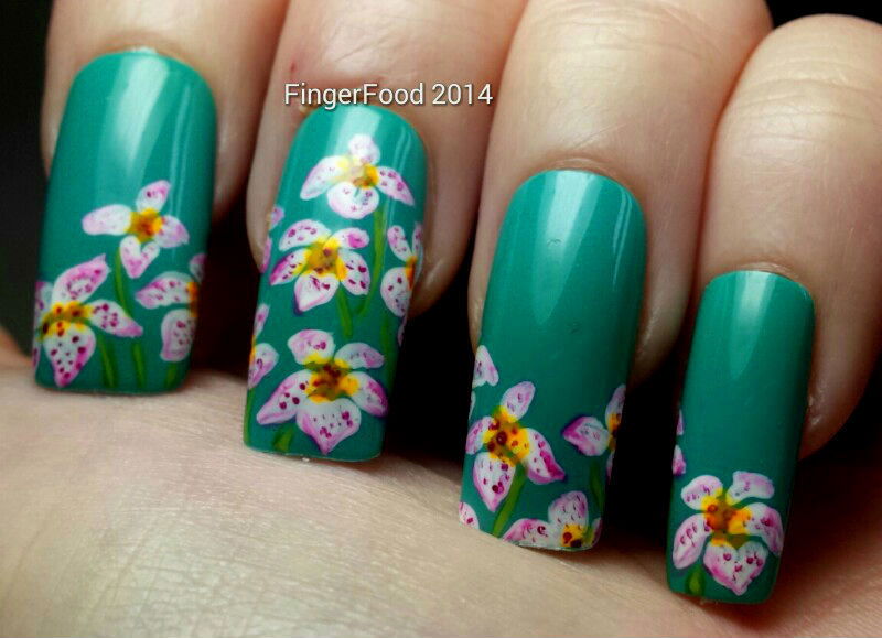 Lillies nail art by Sam