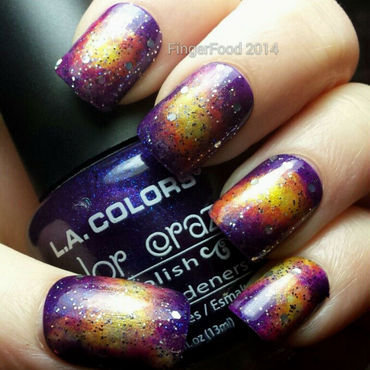Pink/purple Galaxy nail art by Sam