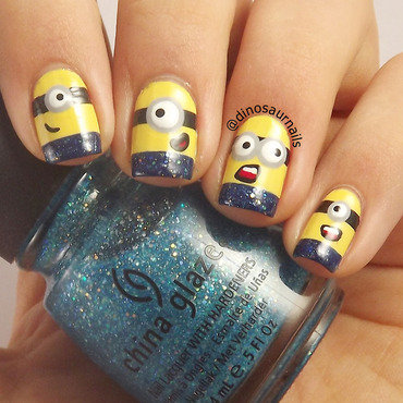 Minions nail art by  Vanesa