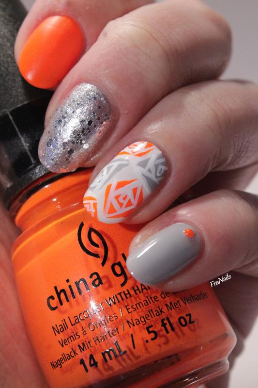 Geometric Roses nail art by Fran Nails
