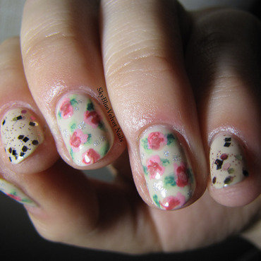 Vintage roses nail art by Sky Blue Velvet Nails