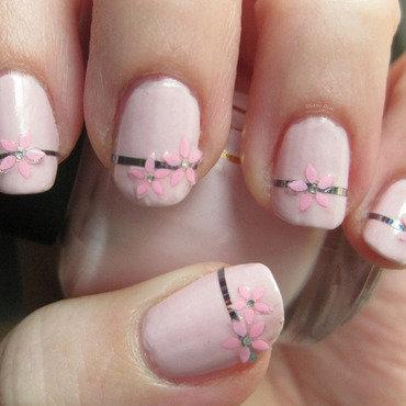 Pink Floral nail art by Andi