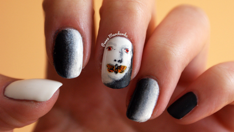 silence of the lambs nail art by Panna Marchewka