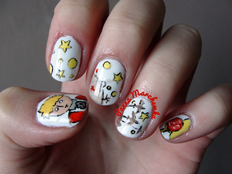 little prince nail art by Panna Marchewka