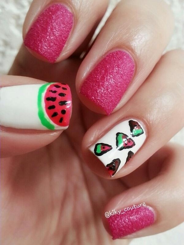 Watermelon Nails nail art by Ximena Echenique