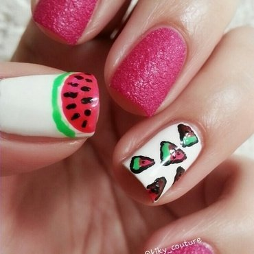 Watermelon Nails nail art by Ximena Echenique