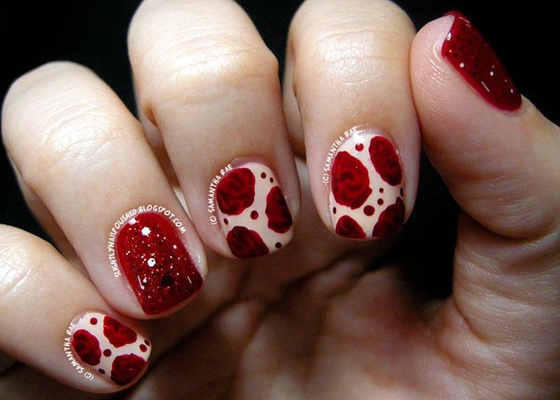 Nude Roses nail art by Samantha Rae